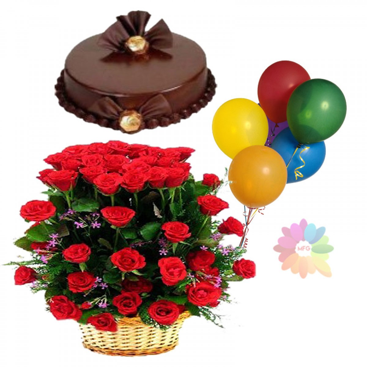 Philippine Flowers Delivery 24 Red Roses Basket Cake And 5