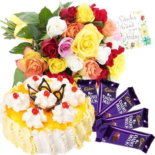 Mixed Roses N Mango Cake Card Combo