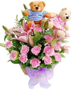 Pink Lilly and carnition with teddy bouquet