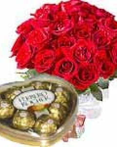 18 Red Roses with Chocolates