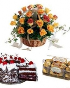 24 orange Roses Rocher Chocolate N Chocolate Cake
