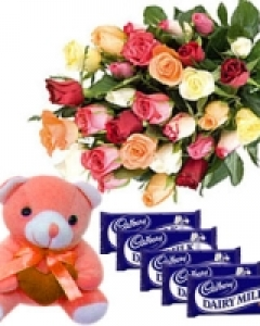 24 mix roses+teddy+5 cadburys chocolates