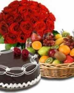 Fruit basket w/cake & 24 red bunch