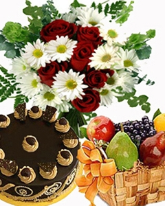 Cake w/ Fruit basket & flower bunch