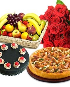002 Pizza, Fruit basket w/cake & 12 red bunch