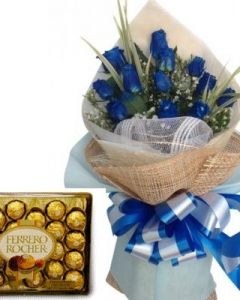 12 blue bouquet w/24 ferrero
