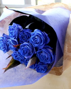 10 blue imported roses