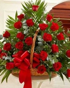 decorated 36 red roses basket