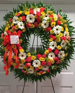 Daisies, Gerbera,carnation, Rose Wreath