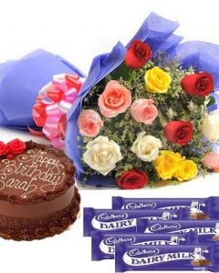 Mixed Roses, chocolate Cake N Cadbury Chocolate Combo