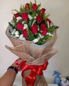 ###12 red roses bouquet