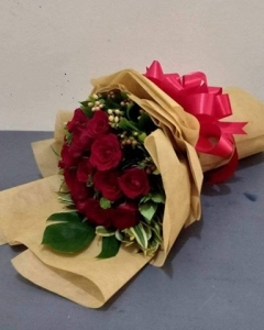 ###12 red roses round bouquet