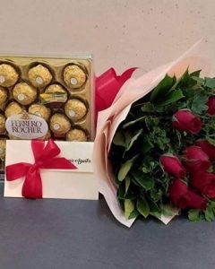##12 red roses with 24 ferrero