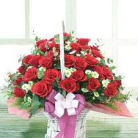 two dozen rose basket
