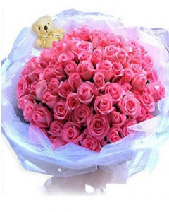 99 Pink Rose w/small teddy